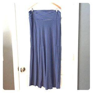 Blue maxi skirt with white stripes